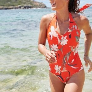 Athleta WAIMEA Plunge Floral Red Halter Swimsuit